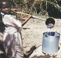 Malawi girl getting water